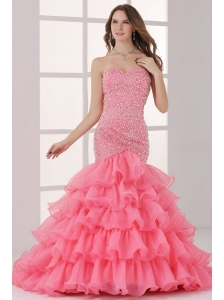 Watermelon Sweetheart Mermaid Beading and Ruffles Layered Prom Dress
