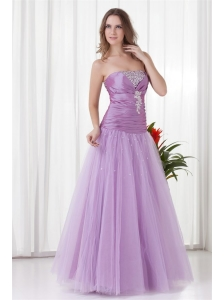 2014 A-line Strapless Lilac Beading Tulle Prom Dress with Lace Up