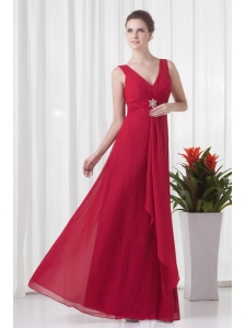 2014 Cheap Empire V-neck Chiffon Red Beading Prom Dress