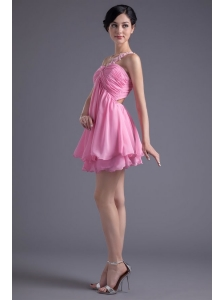 A-line One Shoulder Mini-length Pink Chiffon Ruching Prom Dress with Criss Cross