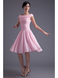 A-line Pink Off the Shoulder Chiffon Knee-length Ruching Prom Dress