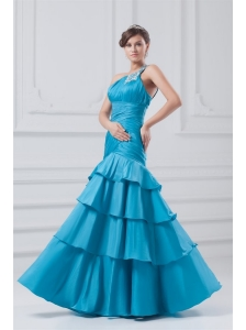 Affordable One Shoulder Taffeta Beading and Ruching Blue Prom Dress