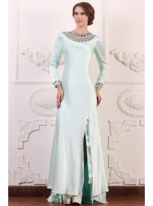 Apple Green Column Scoop Long Sleeves Prom Dress with Beading