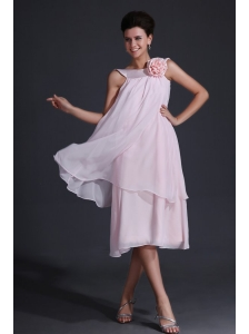 Baby Pink Bateau Flowers Prom Dress with Tea-length