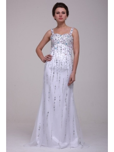 Beaded Straps Prom Dress with Column Brush Train