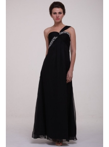 Black Empire One Shoulder Prom Dress with Beading Ankle-length