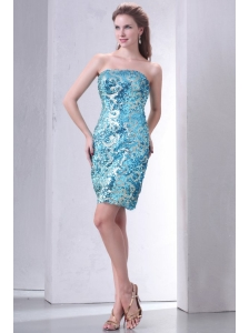 Brand New Strapless Column Sequins Mini-length Prom Dress in Teal