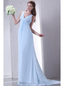 Cheap Empire V-neck Light Blue Prom Dress with Ruching