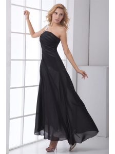 Column Black One Shoulder Ankle-length Chiffon Ruching Prom Dress