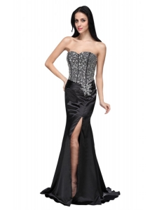 Column Black Sweetheart Beading Chiffon Brush Train Prom Dress