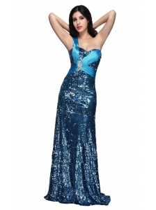 Column Blue One Shoulder Beading Ruching Sequins Floor-length Prom Dress