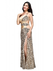 Column Champgne One Shoulder Sequins Ruching Floor-length Prom Dress