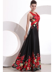 Column V-neck Floor-length Criss Cross Elastic Woven Satin Prom Dress