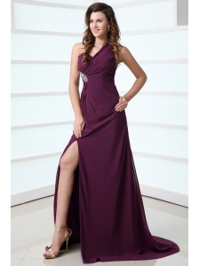 Dark Purple One Shoulder High Slit Beading and Ruching Chiffon Prom Dress