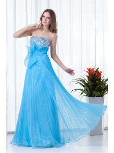 Elegant Empire Strapless Beading Chiffon Aqua Blue Floor-length 2014 Prom Dress