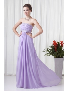 Elegant Empire Strapless Court Train Beading Lavender Prom Dress with Backless