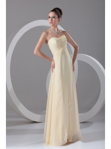 Elegant Empire Sweetheart Floor-length Champagne Ruching Chiffon Prom Dress