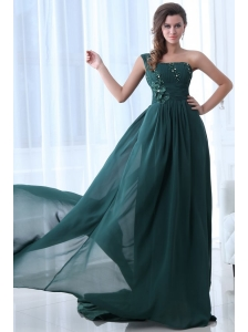 Empire Green One Shoulder Beading and Ruching Prom Dress