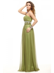 Empire Olive Green Strapless Beading and Ruching Prom Dress