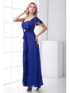 Empire One Shoulder Ankle-length Chiffon Blue Ruching Prom Dress