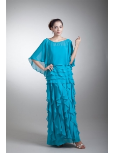 Empire Scoop Ankle-length Chiffon Aqua Blue Ruffles Prom Dress