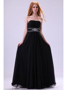 Empire Strapless Black Beading Floor-length Chiffon 2014 Prom Dress