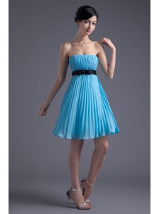 Empire Strapless Chiffon Aqua Blue Knee-length Prom Dress