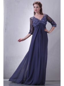 Empire V-neck Chiffon Appliques with Beading Prom Dress with 3/4 Sleeves
