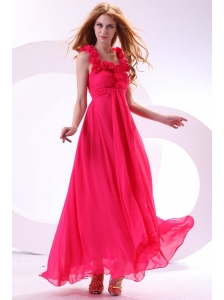 Hot Pink Empire Straps Ankle-length Ruching Chiffon Prom Dress