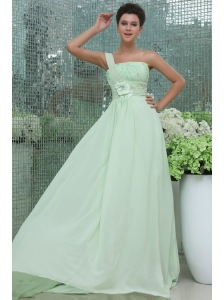 Light Blue Empire One Shoulder Appliques and Ruching Prom Dress