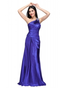 One Shoulder Beading and Ruche Column Prom Dress in Blue