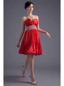 Red Princess Sweetheart Beading Taffeta Knee-length Prom Dress
