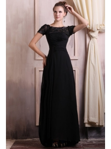 Scoop Empire Chiffon Brush Train Black Prom Dress with Appliques