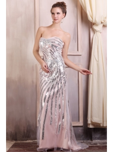 Sequined Champagne Column Sweetheart Prom Dress with Brush Train
