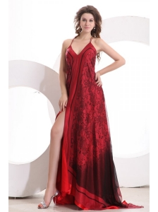 Sexy Empire Halter Floor-length Tulle Criss Cross Red Ruching Prom Dress