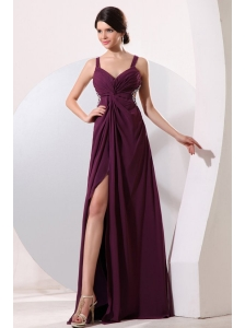 Straps Chiffon Beading and High Silt Prom Dress with Criss-cross Back