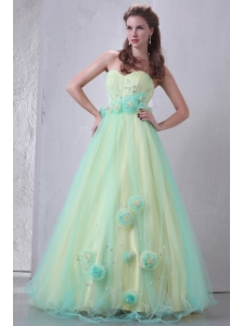 Sweetheart Yellow and Blue A-line Hand Made Flowers and Beading Prom Dress