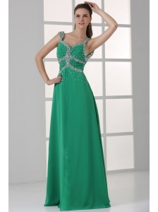 Turquoise Empire Straps Prom Dress with Beading Floor-length