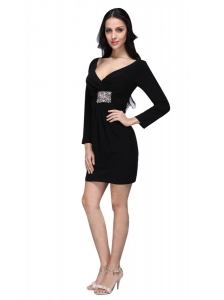 V-neck Black Mini-length Beaded Decorate Prom Dress with Long Sleeves