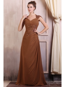 V-neck Column Chiffon Appliques with Beading Prom Dress in Brown