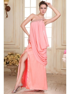 Watermelon Red Column One Shoulder Prom Dress with Beading
