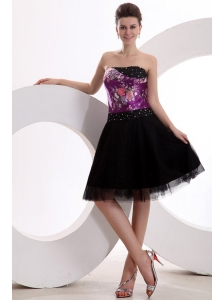 A-line Black and Purple Appliques Beading Tulle Strapless Prom Dress