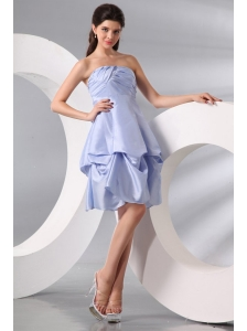 A-line Light Blue Strapless Pick-ups Taffeta Prom Dress