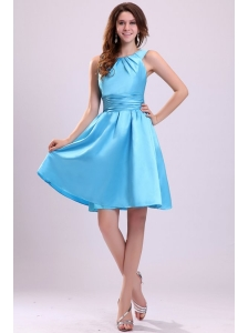 A-line Straps Short Aqua Blue Prom Dress with Ruche