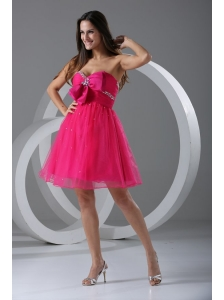 A-line Sweetheart Hot Pink Beading and Ruching Knee-length Prom Dress
