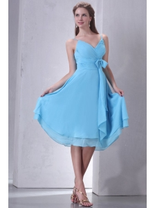 Aqua Blue A-line Spaghetti Straps Knee-length Prom Dress with Sash