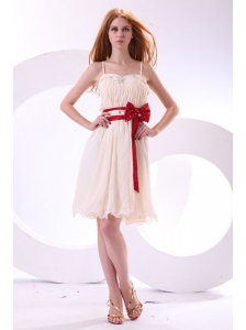 Champagne Empire Straps Beading Mini-length Chiffon Prom Dress