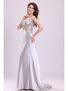 Column Gray Ruching Appliques Halter Top Brush Train Prom Dress