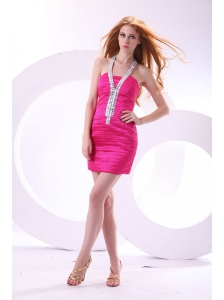 Column Halter Hot Pink Ruching and Beading Mini-length Prom Dress