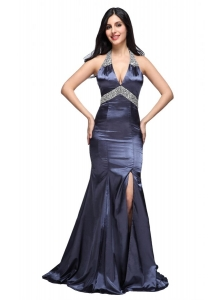 Column Halter Top Beading Navy Blue Taffeta High Slit Prom Dress